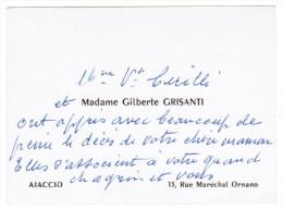 MADAME GILBERTE GRISANTI 13 RUE MARECHAL ORNANO AJACCIO CORSE - Cartes De Visite
