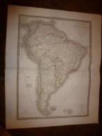 1829 Carte Géo. AMERIQUE MERIDIONALE   Par Lapie 1er Géographe Du Roi, Grav. Lallemand ,Chez Eymery Fruger & Cie - Geographical Maps