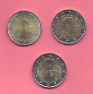 MONACO  -=-=-  Pièces 2 Euros 2011 - 2012 & 2013 Admission à L´ O.N.U. 1993-2013 Commémorative - Monaco
