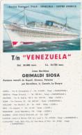 """TURBONAVE   """" VENEZUELA """"   /   GRIMALDI SIOSA _ Calendario Pubblicitario  - Anno 1961 - Petit Format : 1961-70"""
