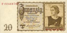 Deutschland, Germany - 20 Reichsmark, Ro. 178 A , ( Serie F ) 1939 ! - 1933-1945: Drittes Reich