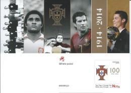 Portuguese National Football Team.Eusebio,Figo And Cristiano Ronaldo Best In World. Full Postal Stationery 100 Yea.Portu - Beroemde Teams
