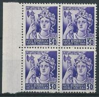 1944-45 RSI MONUMENTI DISTRUTTI 50 CENT QUARTINA MNH ** - T229 - 4. 1944-45 Repubblica Sociale