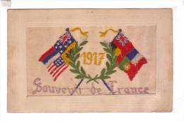 Carte Brodee Souvenir De France Drapeaux Allies Francais Americain Anglais Guerre 1917 Embroidered - Brodées