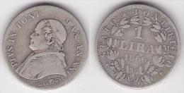 VATICAN : 1 LIRA 1866 An XXI  Petit Buste Argent  (voir Scan) - Vatican