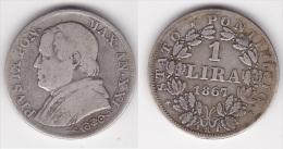 VATICAN : 1 LIRA 1867 An XXI   Argent  (voir Scan) - Vatican
