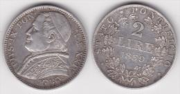 VATICAN : 2 LIRE 1869 An XXIV   Argent  (voir Scan) - Vatican