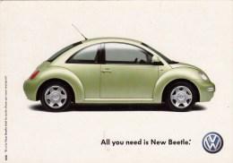 Carte Pub Publicitaire Volkswagen NEW BEETLE ( Automobile - Voiture ) All You Need - PKW
