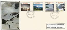 Trekking In New-Zealand., Les Plus Belles Montagnes Du Pays. Lettre FDC Adressée à Auckland. Yv.nr 599/602 - FDC