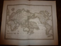 1832 Carte  MAPPE-MONDE (projection MERCATOR)  Par Lapie 1er Géographe Du Roi, Grav. Lallemand ,Chez Eymery Fruger & Cie - Geographical Maps