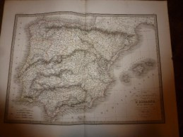 1831 Carte  ESPAGNE , PORTUGAL   Par Lapie 1er Géographe Du Roi, Grav. Lallemand ,Chez Eymery Fruger & Cie - Geographical Maps