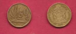 SOUTH AFRICA, 1991, 3 Off Nicely Used Coins 50 Cent C2073 - Zuid-Afrika