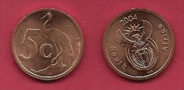 SOUTH AFRICA, 2004, 5 Off Nicely Used Coins 5 Cent C2138 - South Africa
