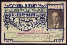 1946 Passe SCTP Servi�o Transportes Colectivos do PORTO Cidade. Pass Ticket BUS + TRAM Portugal