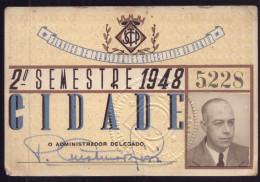 1948 Passe SCTP Servi�o Transportes Colectivos do PORTO Cidade. Pass Ticket BUS + TRAM Portugal