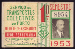 1953 Passe SCTP Servi�o Transportes Colectivos do PORTO Cidade. Pass Ticket BUS + TRAM Portugal