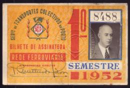 1952 Passe SCTP Servi�o Transportes Colectivos do PORTO Cidade. Pass Ticket BUS + TRAM Portugal