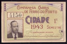 1943 Passe COMPANHIA de CAMINHOS de FERRO do PORTO Cidade. Pass Ticket BUS + TRAM Portugal