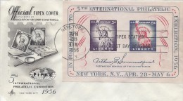 USA FIPEX SOUVENIR SHEET Sc 1075 FDC 1956 - First Day Covers (FDCs)