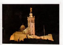 CP 10*15/Y1209/MARSEILLE  BASILIQUE NOTRE DAME DE LA GARDE DE NUIT - Notre-Dame De La Garde, Ascenseur