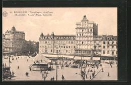 AK Bruxelles, Place Rogier, Hotel Des Boulevards, Strassenbahnen - Tramways
