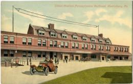 Union Station, Pennsylvania Railroad, Harrisbourg, CPA Color. Très Bel état - Harrisburg