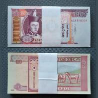 100PCS Mongolian 20 Tugrik. UNC. Original Bundle. - Coins & Banknotes