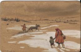 Tres Beau Dessin Sur Carte, Sujet Paysage Russe, Russia, Signe, O. Mardviroff, 1922 - Dessins