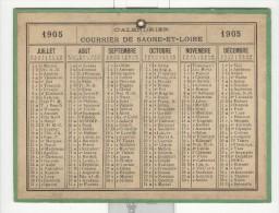Calendrier 1905 15 X 20 Cm - Grand Format : 1901-20