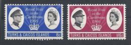 Turks & Caicos Islands  1966 - Royal Visit, Complete Set  Y&T 191-92  Mi. 192-93  MNH - Turks & Caicos