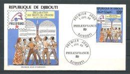 DJIBOUTI 1989  N° 247 PREMIER JOUR Superbe Déclaration Des Droits De L' Homme Et Citoyen Logo Philexfrance - Dschibuti (1977-...)