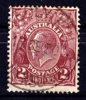 Australia 1928 King George V 2d Red-Brown Small Multi Wmk P13.5 Used  SG 98