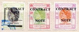 Hong Kong 3 Used Contract Note Stamps - Hong Kong (...-1997)