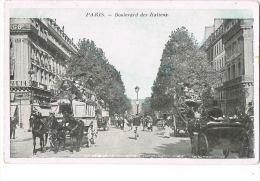 PARIS  Boulevard Des Italiens - Transport Hippomobile 3 Chevaux -Beau Plan  - Recto Verso - Transport Urbain En Surface