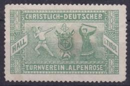 Turnen Classic Advertisement Label Christlich Deutscher Tunrverein Alpenrose Hall Tirol - Gymnastics
