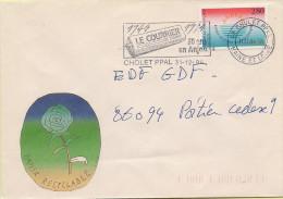 49 -  Flamme De CHOLET Sur Enveloppe Illustrée, Timbre Nice - 1961-....