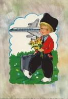 Fantasiekaart Met Kind In Traditionele Klederdracht En Vliegtuig KLM Op Achtergrond - Kindertekeningen