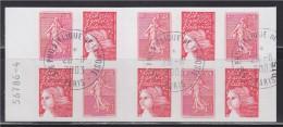 = Carnet 1511 Adhésif Luquet Et Semeuse Lignée De Roty (centenaire) 5 X 0.50€ Et 5 Tvp Oblitéré 28.11.2003 N°36 Et 30 - Carnets