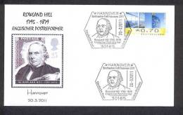 GERMANY ALLEMAGNE 2011. SPECIAL POSTMARK. ROWLAND HILL 1795 - 1879. ENGLISH POSTAL REFORMATOR. HANNOVER