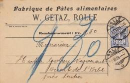 Fabrique De Pâtes Alimentaires W. Gétaz, Rolle 30.XI.1905 / Timbre Bleu Mat ? - Alimentation