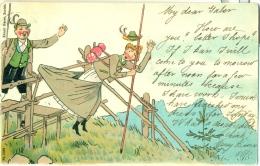 Schweiz Switzerland Sent From Belgie Belgique Humour In The Alps Lady Undressing Sent 1901 - 1900-1949