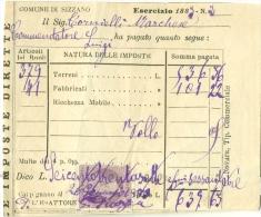 Marca Da Bollo 5 C 1883 Comune Di Sizzano Su Ricevuta - 1878-00 Umberto I