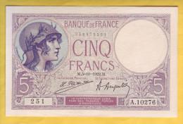 BILLET FRANCAIS - 5 Francs Violet 5-10-1922 SUP+ - 1871-1952 Anciens Francs Circulés Au XXème