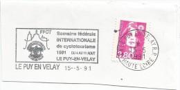 FRANCE. FRAGMENT POSTMARK INTERNATIONAL CYCLING WEEK. LE PUY EN VELAY. 1991. FLAMME - Marcofilia (sobres)