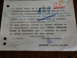 """Carte De Remerciement De La """"centrale Des Anciens Prisonniers De Guerre1914/1918/1940/?) - Militaria"""