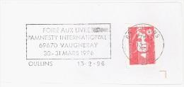 FRANCE. FRAGMENT POSTMARK AMNESTY INTERNATIONAL. OULLINS. 1996. FLAMME - Marcofilia (sobres)