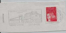 FRANCE. FRAGMENT POSTMARK. TOURNON. BRIDGE. CASTLE. FLAMME. 2000 - Marcofilia (sobres)
