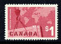 1963  Canadian Exports  World Map  $1.00 Definitive  Sc 411  MNH - 1952-.... Règne D'Elizabeth II