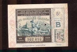 Billet De La Loterie Nationale De 1942  -  Les Gueules Cassées   -  5 ème  Tranche  -  Sans Talon - Billets De Loterie