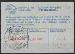 SAN MARINO International Reply Coupon Reponse Antwortschein IAS IRC CRI  La25E  LIRE 1000  O SAN MARINO 1.3.1985 FD! - Interi Postali